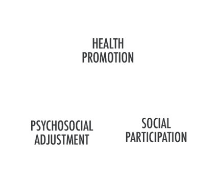 health promotion, psychosocial adjustment, social participation in rotating circles